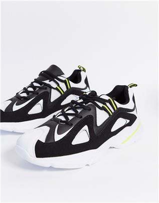 Brave Soul - Retro sneakers met dikke zool in zwart en wit