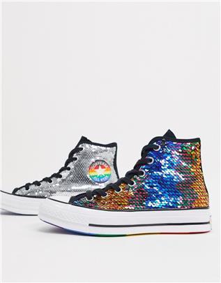 Converse Chuck - 70 - Hoge 2-zijdige regenboogkleurige sneakers met lovertjes-Multi