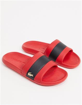 Lacoste - Slippers met gouden krokodil in rood