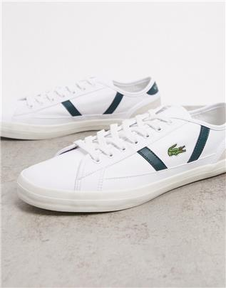 Lacoste - Leren sneakers met groene strepen-Wit