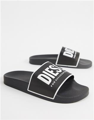 Diesel - Slippers met logo in zwart