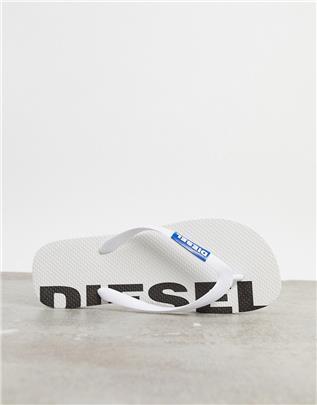 Diesel - Teenslippers met logo in wit