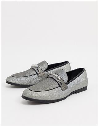 ASOS DESIGN - Loafers met zilveren glitter en trens