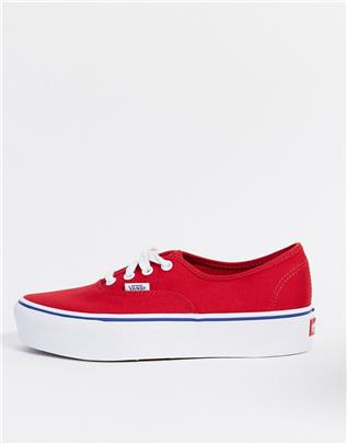 Vans - UA Authentic - Sneakers met plateauzool in racing red-Rood