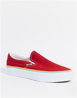 Vans - UA Classic - Instapsneakers met plateauzool in tango red-Rood