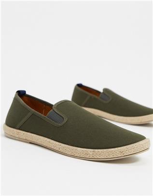 Burton Menswear - Espadrilles in kaki-Groen