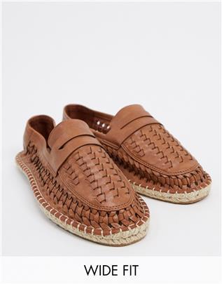 ASOS Design - Geweven espadrilleloafers met brede pasvorm in bruin