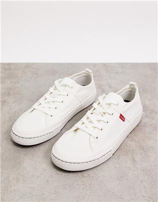 Levi's - Sherwood - Sneakers van gerecycled polyester in wit met klein logo