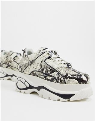 Buffalo - Sneakers met dikke zool en slangenprint in grijs en wit-Multi