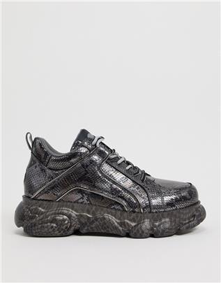 Buffalo - CLD - Sneakers met dikke zool en metallic slangenprint in grijs