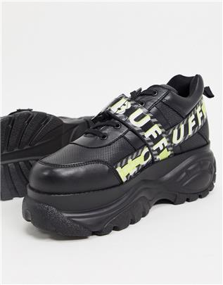 Buffalo - Gallip - Sneakers met dikke zool en gespsluiting in zwart