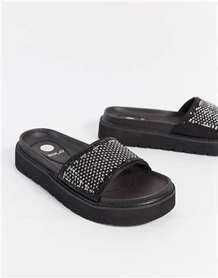 Replay - Slippers met sierdiamantjes in zwart