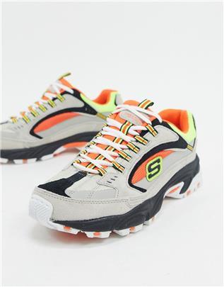 Skechers - Stamina Cutback - Sneakers in oranje en grijs en andere kleuren-Meerkleurig