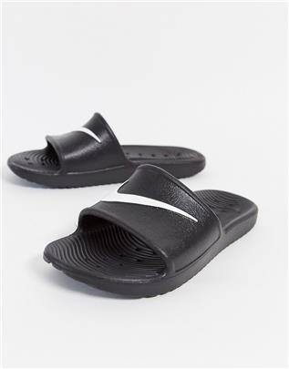 Nike - Kawa - Slippers met Swoosh in zwart