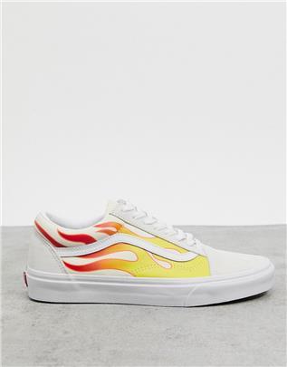 Vans - Old Skool - Sneakers met vlammen in wit