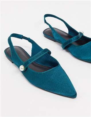 ASOS DESIGN - Lacey - Slingback ballerina's in Mary-Jane model van groenblauw satijn