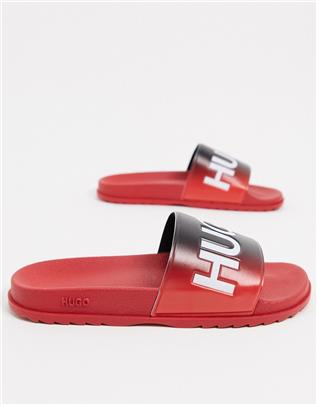 HUGO - Match - Slippers in rood