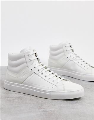 HUGO - Futurism - Hoge sneakers van nappa-leer met ritssluiting-Wit