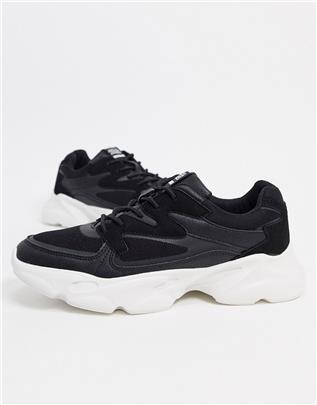 Jack & Jones - Sneakers met dikke zool in zwart en wit