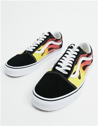 Vans - Old Skool - Sneakers met vlammen in zwart