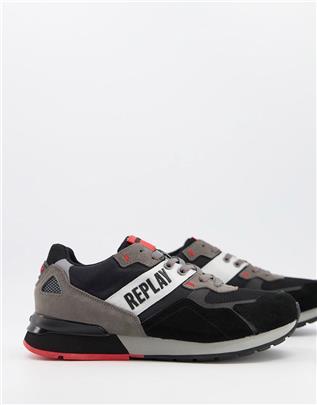 Replay - Sneakers met logo in zwart