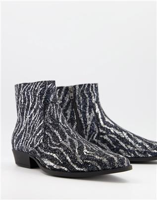 ASOS DESIGN - Western chelsea boots met cuban hak in zebraprint glitter-Zilver