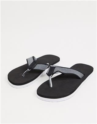 ASOS DESIGN - Gebreide teenslippers in zwart en wit