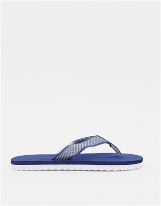 ASOS DESIGN - Gebreide teenslippers in marineblauw en wit