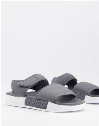 ASOS DESIGN - Gewatteerde lounge slippers in donkergrijs