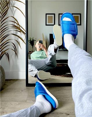 ASOS DESIGN - Gewatteerde lounge pantoffels in blauw
