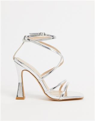 Glamoureuze sandalen met vierkante neus en uitlopende stiletto in zilverkleurige spiegel