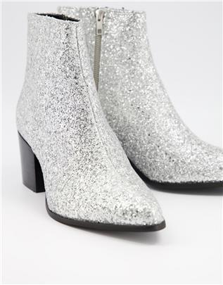 ASOS DESIGN - Chelsea boots met hak en puntige neus in zilver glitter