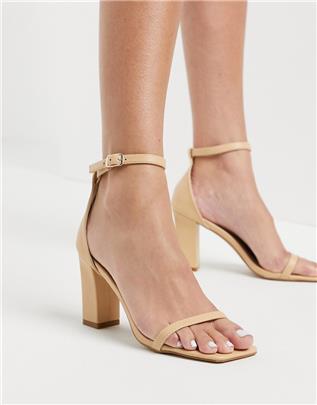 RAID - Dania - Sandalen met vierkante neus en hak in beigeroze-Neutraal
