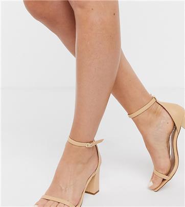 RAID Wide Fit - Dania - Sandalen met hak en vierkante neus in beigeroze-Neutraal