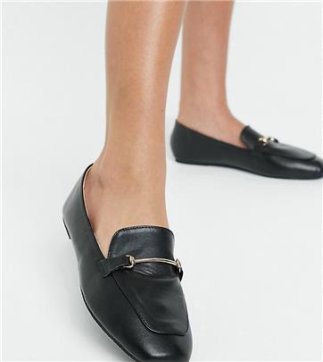 Raid Wide Fit - Vella - Platte schoenen met zachte vierkante neus en gouden afwerking in zwart