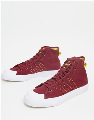 adidas Originals - Nizza Hi RF - Sneakers in bordeauxrood, geel en wit