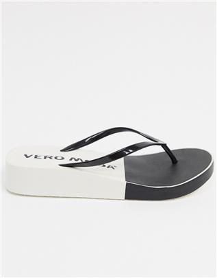 Vero Moda - Teenslippers in 2 tinten in zwart en wit-Multi