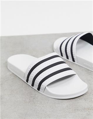 adidas Originals - Adilette - Slippers in wit met zwarte strepen