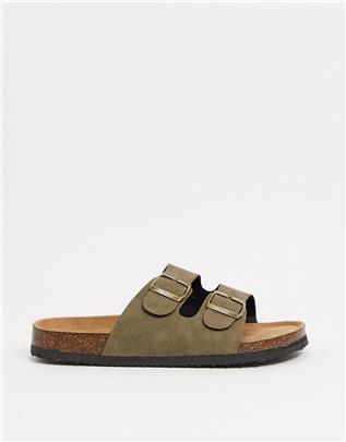 Cotton On - Platte sandalen met dubbele gesp in kaki-Groen