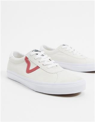 Vans Sport - Suède sneakers in crème/rood