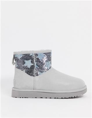 UGG - Classic mini - Laarzen met sterren en lovertjes in grijs