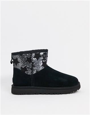 UGG - Klassieke laarzen met kleine stervormige lovertjes in zwart