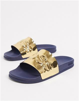 BOSS - Bay - Slippers in goud en marineblauw