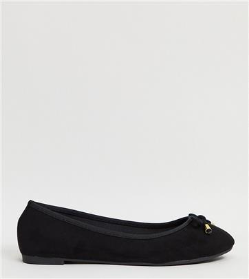 Simply Be Wide fit - Metallic balletschoenen van zwart lakleer