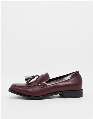 Truffle Collection - Geweven loafers met kwastjes in bordeaux-Rood