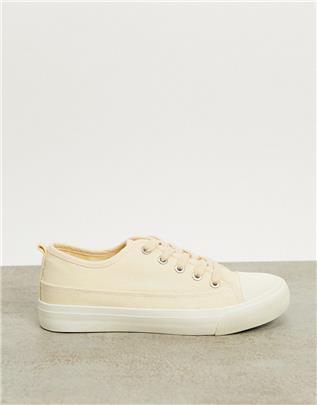 Rubi - Jenna - Canvas sneakers met veters in ecru-Neutraal