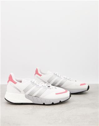 adidas Originals - ZX 1K Boost - Sneakers in wit met roze hieltab