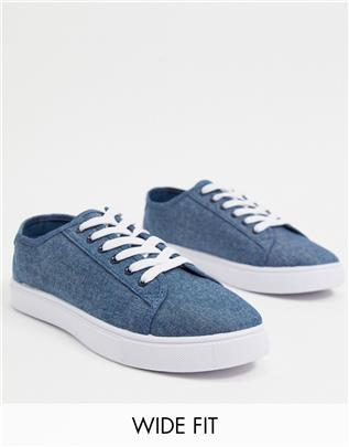ASOS DESIGN Wide Fit - Sneakers van blauwe canvas-Marineblauw