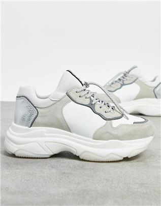 BRONX - Leren sneakers met dikke zool in wit