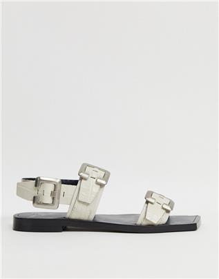 BRONX - Slingback sandalen van gebroken wit leer